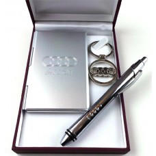 AUDI Silver Finished Keyring Pen and Address Book
